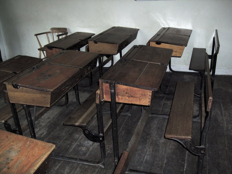 Wooden School Desk ~ The permanence of childhood on road again